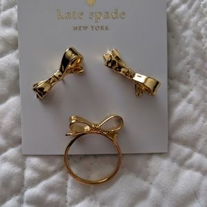 Kate Spade bow earrings with matching ring